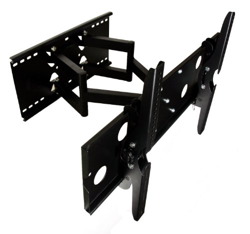 Mount-It! New Premium Universal Adjustable Tilting/Swiveling Articulating Full Motion Dual Aluminum Arm TV Wall Mount Bracket for LCD LED Plasma
