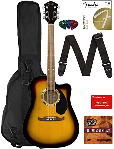 Fender FA-125CE Dreadnought Cutaway Acoustic-Electric Guitar – Sunburst Bundle with Gig Bag, Strap, Strings, Picks, Fender Play Online Lessons, and Austin Bazaar Instructional DVD