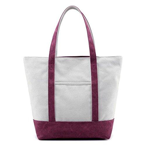 Sucastle sacchetti di svago sacchetto di modo del sacchetto di spalla di tela retro borsa bag Sucastle Colore:porpora Dimensione:33x28x15cm