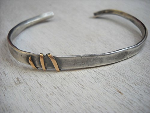 Blackened Sterling Silver and 14K Yellow gold Rustic Cuff Bracelet for Men, Alternative Artisan Handmade Jewelry