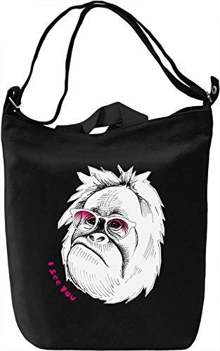 Funny Monkey Borsa Giornaliera Canvas Canvas Day Bag| 100% Premium Cotton Canvas| DTG Printing|