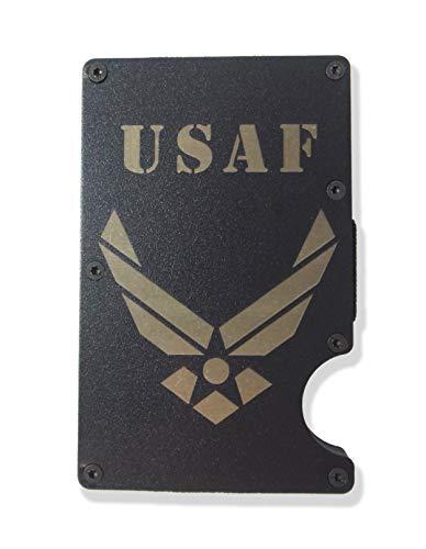 Air Force Engraved Metal RFID Blocking Tactical Minimalist Wallet w/Money Clip USAF (Air Force)