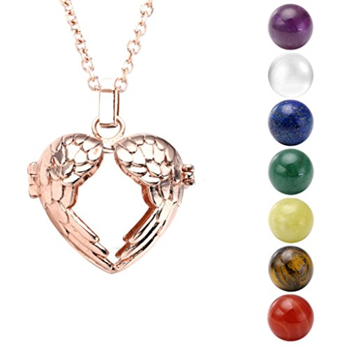 Top Plaza Locket Pendant Rose Gold Plated 7 Chakra Beads Locket Charms Memory Secrets Wishes Pendant Necklace (Rose Golden Heart Angel Wing)
