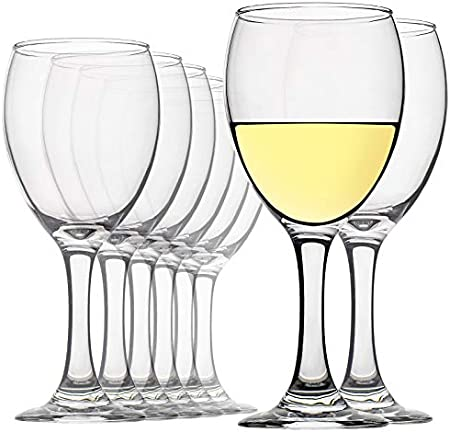 CREST [Juego de 8, 350ml/12 oz Copas de Vino Blanco, Vaso de Cristal, para Bodas, restaurantes y Fiestas