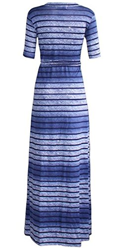 Dress Womens Tie Swing Long Blue V Wrap Neck Striped Pleated Sexy Domple Swv6q