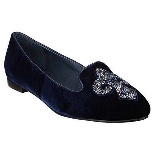 RIVA Zapatos de Terciopelo Elegantes Modelo Sassari Para Mujer Azul marino