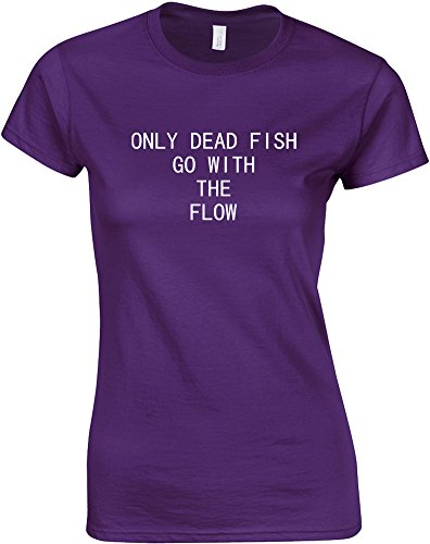 Only Dead Fish Go With The Flow, Ladies Printed T-Shirt – Purple/White 2XL = 10-12