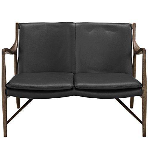 - Modway Makeshift Leather Loveseat in Walnut Black