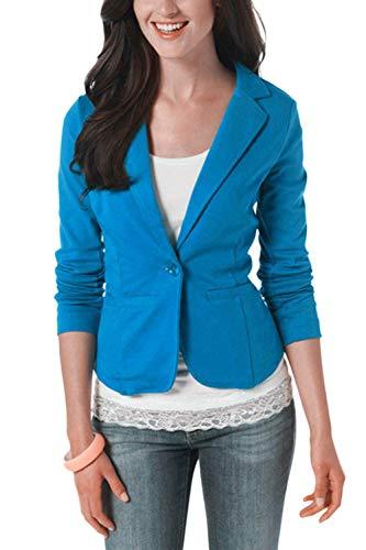 coloré À Pour Bleu Coton Manches Femmes Blazer Taille En Courtes Décontracté Rose X Oudan large nIzBHwTq