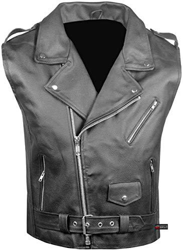 5 Star Men's Fashion Biker Rocker Genuine Cowhide Leather Black Vest (XL)