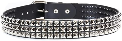 [해외]Snap On Three Row Punk Rock Star Metal Silver Studded Full Grain Cowhide Leather Belt By Funk Plus USA / Snap On Three Row Punk Rock Star Metal Silver Studded Full Grain Cowhide Leather Belt By Funk Plus USA