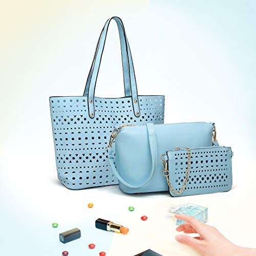 3pcs Set Blue 1829 Lulu Soft Handbag Shoulder Crossbody Pouch Bag PU Fashion Miss Hollow Bag Purse Leather xIEwqZxd
