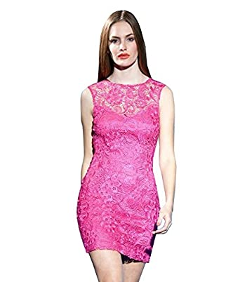 Lipsy Lace Low Back Club Evening Bodycon Party Dress (UK 8, Pink)