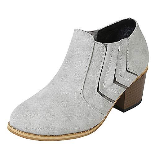 2019 Hot!Claystyle Women Fashion Wedges Boots, Ladies Leisure Solid Round Toe Slip On Mid Heel Booties Shoes(US: 7.5) Gray