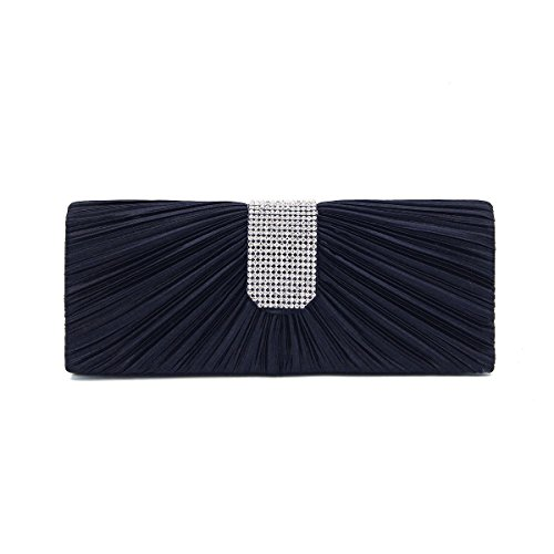 Clutch Classic Flap Navy Elegant Diff Evening Rhinestones Bag Pleated Satin Colors Xqwdt