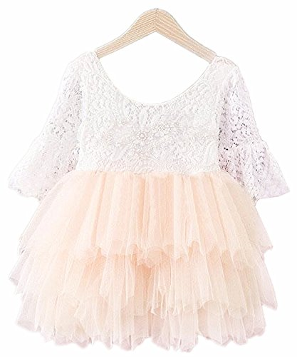 2Bunnies Girl Baby Girl Embroidered Beaded Victorian Lace Tiered Tutu Princess Pageant Party Dress (Cream Pink 3/4 Sleeve, 5T/5-6Years)