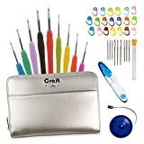 Crochet Hooks Set by Craft Destiny - Everything You Need in Exclusive Crochet Hook Case - 9 Ergonomic Hooks with US Size Engraved in The Handle - 31 pcs Crochet Accessories Kit - Classy Gold Style