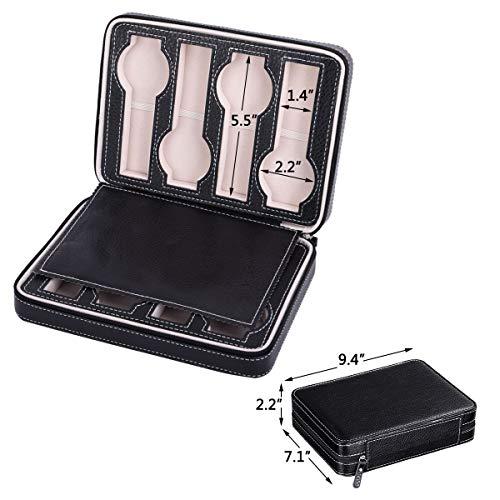 Autoark 8 Slot Leather Portable Travel Watch Case Storage Organizer,Black,AW-034 by Autoark (Image #6)