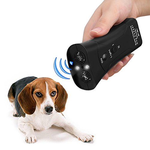 Handheld Dog Repellent, Dual Channel Electronic Animal Repellent, Handy Ultrasonic Dog Training Pet Bark Stopper for Outdoor Camping Garden (Barking Deterrent Dog Device Training)