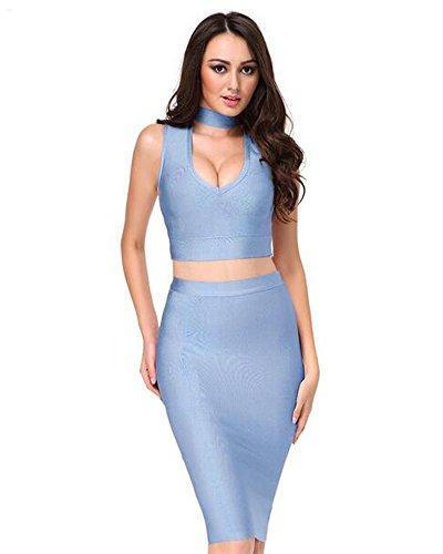 Whoinshop Damen Zweiteiler Kleid Set Bodycon Kleider PartyKleid ...