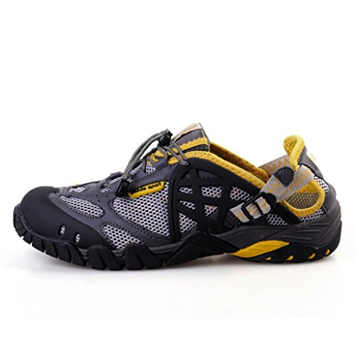 Aleader Mens Closed Toe Sport Hiking Sandals Amphibious Water Shoes Yellow 8.5 D(M) US