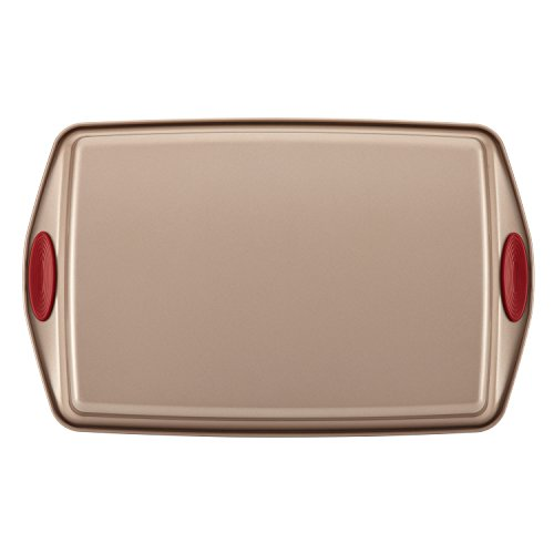 Rachael Ray Cucina Nonstick Bakeware 10-Piece Set, Latte Brown with Cranberry Red Handle Grips by Rachael Ray (Image #5)