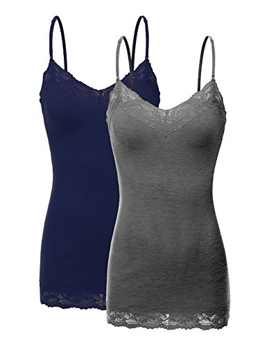 RT1004 Pack Ladies Adjustable Spaghetti Strap Lace Tunic Camisole 2Pack-HE.CHC/Navy S
