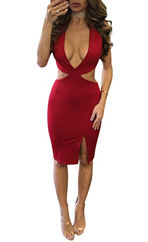 Luluka Women's Sexy Deep V Neck Hollow Out Back Bodycon Tank Club Dress US Medium Red