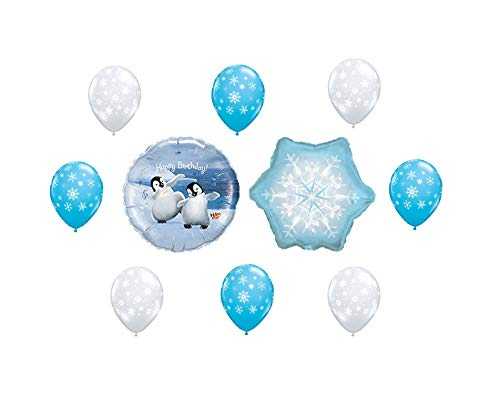 10 BALLOONS new HAPPY FEET PENGUIN snowflake HAPPY BIRTHDAY party DECOR favor GIFTS blue clear NEW