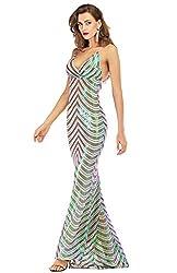 Green_0 Sequin V Neck Backless Spaghetti Strap Dress