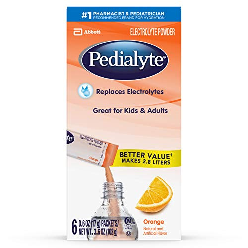 Pedialyte Electrolyte Powder, Electrolyte Drink, Orange, Powder Sticks, .6 oz, 6 Count