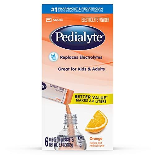 Pedialyte Large Powder Packs, Orange, 6 Count