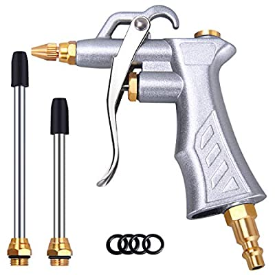 Industrial Air Blow Gun with Brass Adjustable Air Flow Nozzle and 2 Steel Air flow Extention,Pneumatic Air Compressor Accessory Tool Dust Cleaning Air Blower Gun