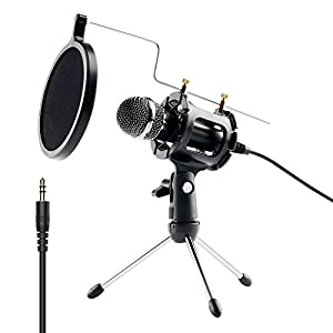 Youcink Condenser Microphone, Plug & Play Home Studio Microphones for Recording, PC, Computer, Podcasting, Mini Desktop MIC Stand dual-layer acoustic filter with Audio Y Splitter