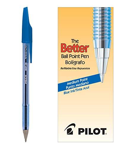 Pilot The Better Ballpoint Stick Pens, Medium Point, Blue Ink, Dozen Box (36711)