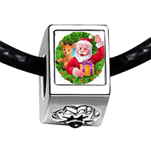 Chicforest Silver Plated Happy Santa Claus Photo Black Crystal Flower Charm Beads Fits Pandora Bracelets
