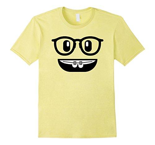 Mens Emo Shirt Costume Braces Teeth Nerd Glasses Yellow XL Lemon