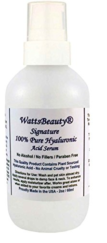 Watts Beauty Signature 100% Pure Hyaluronic Acid Wrinkle Serum - Best Hyaluronic Acid for Face - No Parabens - Perfect Plumping Moisturizer for Wrinkles, Fine Lines, Dry, Aging Skin 2oz -  WBSignHA-2oz