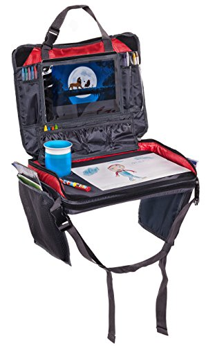 The Original Kids Travel Tray - Improved Version 3.0 - 4 in 1 - iPad, Tablet & Cup Holder - Backseat Organizer plus Snack Tray & Activity Desk, Carry All Bag - Easy to Clean & Durable (Red) - Flip Tray Seat