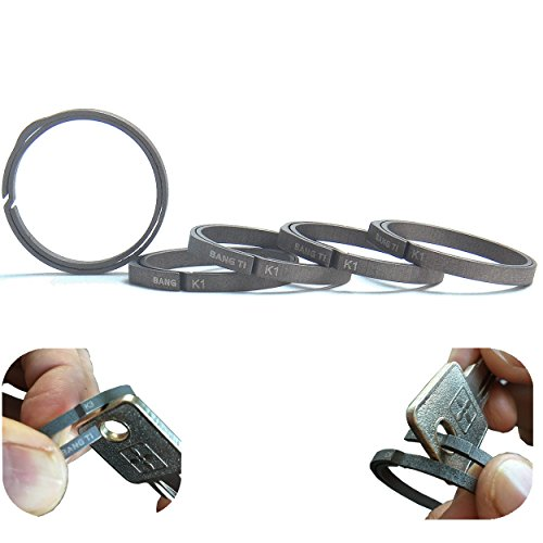 (BANG TI Titanium Nail-Saving Flexible Small Keyring (K1, 26mm/1.02