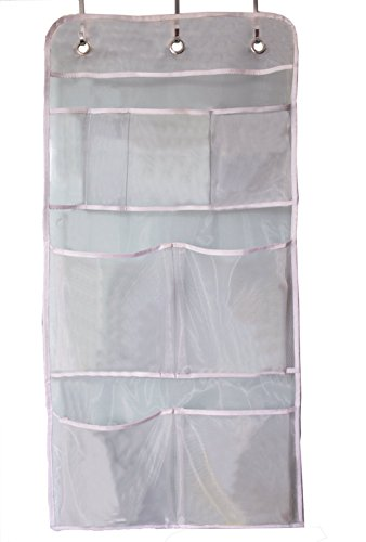 (MISSLO Hanging Mesh Pockets Hold 340oz/1000ml Shampoo Shower Organizer with Over The Door Hooks )