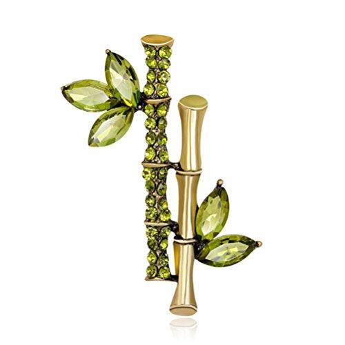 - Botrong Vintage Rhinestone Crystal Bamboo Brooch Broach Pin Wedding Party Jewelry (Green)