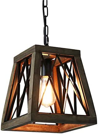 Giluta Rustic Pendant Light Farmhouse Metal Wood Chandelier Industrial Look Hanging Ceiling Light Fixture, Unique Trapezoid Shape Pendant for Kitchen Living Room Foyer Bronze Finished