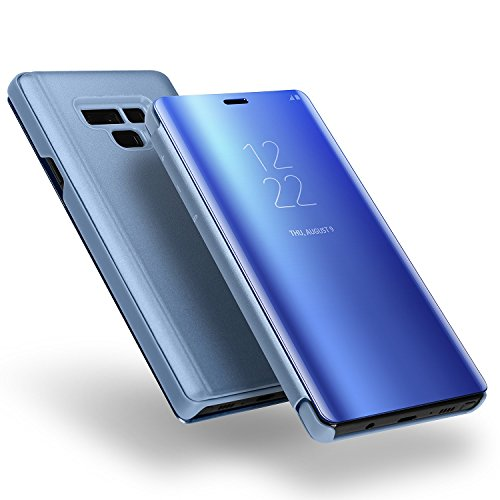 Galaxy Note 9 Case,WATACH Smart Clear View Makeup Mirror Electroplate Plating Kickstand Feature Full Body Protective Flip Folio Cover for Galaxy Note 9 (Blue) by WATACHE (Image #4)