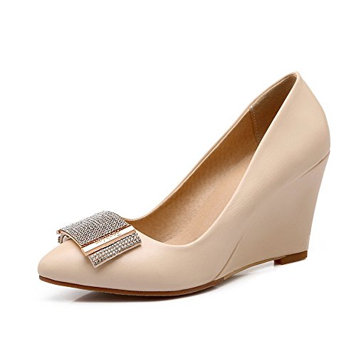 AllhqFashion Womens Pull-on Pointed Closed Toe High-Heels PU Solid Pumps-Shoes Apricot nMji3C1t