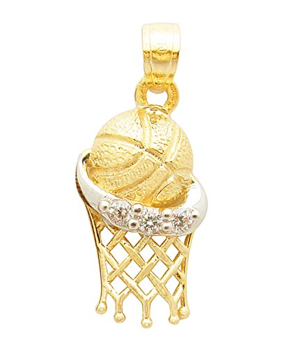 10K Yellow Gold Two Tone Basketball Pendant Charm (Two Basketball Tone Gold)