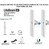 Ubiquiti LBE-5AC-16-120 5GHz 2-PACK LiteBeam AC 11ac Access Point 16dBi 120° PoE