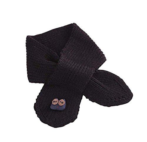 散文ファブリック頭かわいいフクロウは、赤ちゃんのスカーフ冬のネックウォーマー黒を編んだ