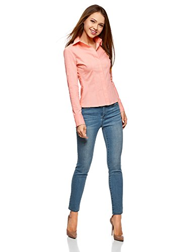 Collection Oodji In Camicia Aderente Donna 4000n Cotone Rosa 4fBfdqnw