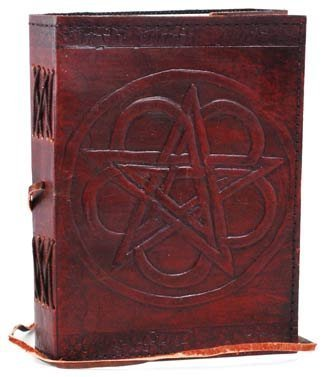 Hand Tooled Leather Pentagram Blank Journal Book